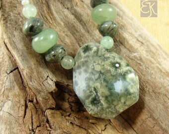 Memories of the Sea Ocean Jasper Necklace, Green Gemstone Necklace, Statement Necklace, Ocean Jasper Necklace, Rustic Necklace, Gift for Her