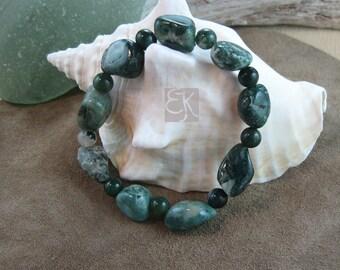 Fancy Jasper Stretch Bracelet, Gemstone Bracelet, Jasper Bracelet, Stone Bracelet, Green Jasper Bracelet, Beaded Bracelet, Womens Bracelet