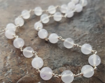 "Rose Quartz Linked with Sterling Silver and Springring Clasp 16.5"" *Clearance* - Free Shipping"