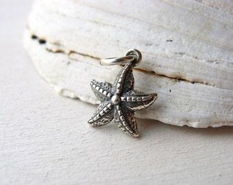 Sterling Silver Starfish Charm, Beach Charm, Silver Starfish Charm, Seastar Charm, 14mm, (1), destash, 10% off use code SAVE10