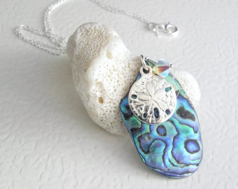 Real Paua Shell Necklace, Sand Dollar Pendant, Abalone Jewelry