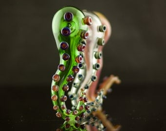 Tentacle Glass Spoon Pipe Hand Blown Thick Wall in YOU CHOOSE the COLOR, Made to Order