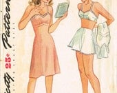 VINTAGE 1940s Simplicity Size 14 Truly Teen Style Lingerie Slip Bra Panties Pattern 1075
