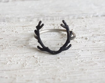 Deer Antler Ring-Sterling silver Antler Ring-Deer jewelry-Boho silver Ring-Deer antler jewelry- Statement ring