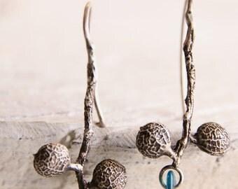 Sterling silver seed gemstone earrings-Blue apatite gemstone earrings-Dangle botanical earrings-Wedding jewelry-Nature lovers jewelry