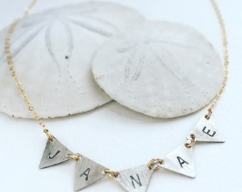Name necklace, Personalized jewelry, Custom hand stamped name necklace, children initial, personalized necklace, triangle initial necklace