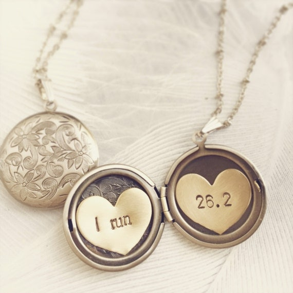 Runner necklace, Marathon necklace, Personalized jewelry, I run marathon, Custom hand stamped Locket necklace, Run 10K gift for her