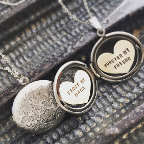 Custom locket necklace Mothers day gift Personalized jewelry, Custom hand stamped, first my mom, Personalized locket necklace