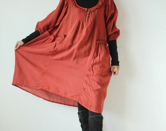 30 USD Sale...Semi long sleeves dress  (361A)...Rose Red  mixed silk in 4 sizes(361)