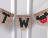 Mickey TWO Banner ~burlap birthday banner ~mickey mouse inspired ~high chair banner ~cake smash ~photo prop