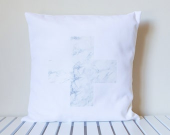 Marble Swiss Cross Pillow