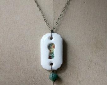 Keyhole Pendant, Floral Necklace, Peek-a-boo, Secret Garden, Vintage Keyhole, Tin, Upcycled