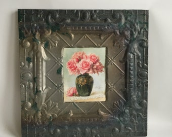 """8"""" x 10"""" Antique Recycled Tin Ceiling Metal Picture Frame Bare Tin 231-16"""