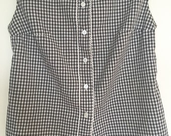 Adorable 1950s Sleeveless Gingham Blouse - 50s Rockabilly Black & White Checked Rockabilly Top