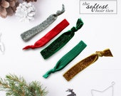 Holiday Sparkle - 5 Glitter and Solid Elastic Hair Ties | Hair Tie Bracelets in Gold, Red, Green + Silver by Mandizzle - PREORDER