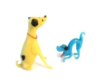 Vintage blown glass dog figurines - Miniature