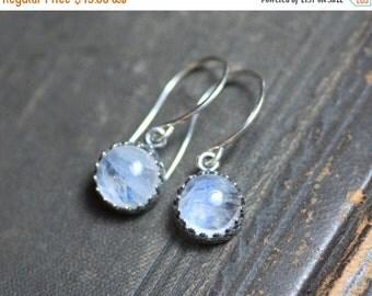 On Sale Rainbow Moonstone Earrings Crown Bezel Set Antiqued Silver Earrings Crown Setting Moonstone Cabochon Earrings