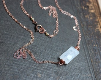 Moonstone Necklace Rose Gold Necklace Moonstone Jewelry Rustic Jewelry Simple Rainbow Moonstone Copper