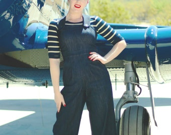 Sale Ready to ship Darling 1940s style Rosie overalls  S to XL indigo denim