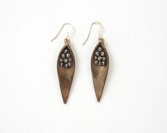 Pyrite Cluster Leaf Earrings