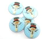 """5 Snowman Buttons. Handmade Sewing Buttons.  Blue Snowman Buttons. 3/4"""" or 20 mm."""