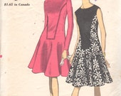 Vogue 6994 1960s  Misses Flared DRESS Pattern Seam Interest Contrast Inset  Womens Vintage  Sewing Pattern Size 14 Bust  34