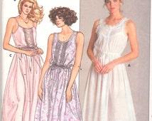 Butterick 3778 1980s EILEEN WEST Misses Romantic Nightgown Pattern Womens Vintage Designer Sewing Size P S M Bust 30 - 36 Or L Xl UNCUT