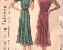 1930s Simplicity 2980 Misses Dress Pattern Sweetheart Neck Stylish Tucking Flared Skirt Womens Vintage Sewing Pattern Size 18 Bust 36