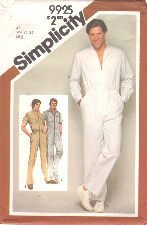 Simplicity 9925 1980s Mens Zip Front Jumpsuit Pattern Stand Up