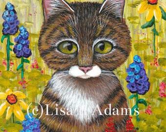 Tabby Cat 5x7 Canvas Print of Original Painting Wildflowers Creationarts