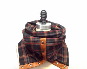 Sale 50% off Black camel and red cotton ultra soft plaid Chunky circular infinity unisex  scarf , men's scarf , women scarf