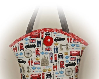 FREE Shipping USA Canada - J Castle Boutique Bag - I Love London England British Designer Fabric - - - (Ready to Ship)