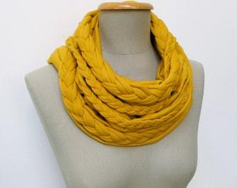 braided LOOP scarf tumeric, infinity scarf