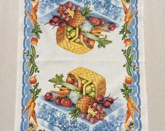 Vintage Towel Brimming Basket of Fruits & Veggies