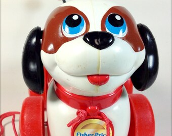 Fisher Price vintage puppy dog pull toy with spring tail