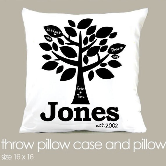 Personalized Family Throw Pillow : Family tree personalized throw pillow great housewarming, wedding, new baby or Christmas holiday ...