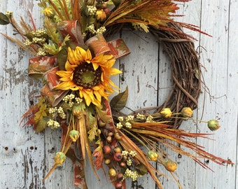 Fall Wreath for Door, Fall Sunflower Wreath, Country Fall Door Wreath, Fall Flower Wreath, Rustic Fall Wreath