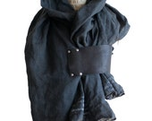 gray poetry e.e. cummings scarf , black leather , linen ,wraps and shawls, printed scarves