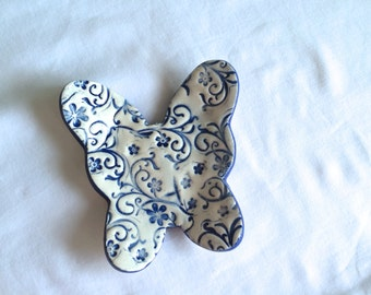 Blue and white Floral Ceramic Butterfly dish, Spoon Rest