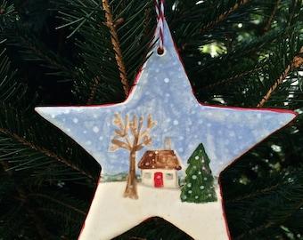 Handmade Ceramic Star Little Cottage in Snowstorm Ornament