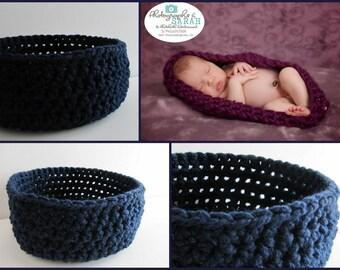 Photo Prop, Navy Blue Newborn Baby Bowl, Nesting Bowl, Baby Pod, Baby Cocoon, Crochet Newborn Bowl, Newborn Photo Props, Newborn Photography