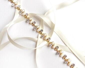 Headband - Gold Pearl and Rhinestone Bridal Headband or Thin Belt - Wedding Headband - Satin Ribbon Tie - Long Wedding Dress Belt