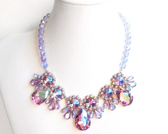 Aurora Borealis Rhinestone Bib Necklace - Lilac and Blue AB Crystals - Vintage Style - Statement Bib Necklace