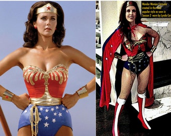 Full Wonder Woman Costume WITH Cape, Tiara, Cuffs, Corset, Belt, Briefs and Earrings...