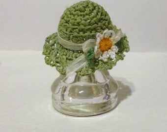 Miniature Crochet Green Garden Sun Hat One Inch Scale