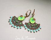 Chandelier earrings shaped fans, green, coppered - sous la mansarde®, dangle earring, polymer clay, metal, rhinestone, bead, green leaf