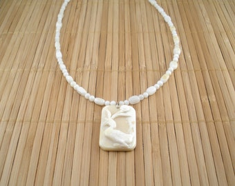Ivory Cream Necklace Carved Shell Necklace Carved Duck Pendant Necklace Bird Watcher Necklace Nature Lover Collectible Shimmery Bead