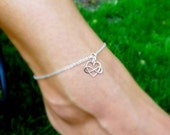 Infinity anklet, Ankle bracelet, Infinity heart symbol, sterling silver anklet, friendship bracelet, best friend gift, bridesmaid gifts