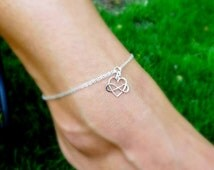 Infinity anklet, Ankle bracelet, Infinity heart symbol, sterling silver anklet, friendship bracelet, best friend gift, bridesmaid gifts