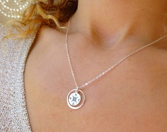 Graduation gift, Compass necklace, geo necklace, circle necklace, friendship, sisters, high school graduation, college graduate gift for her